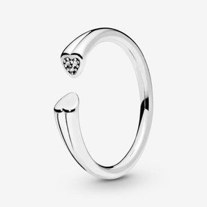 🐶Pandora Polished and Sparkling Hearts Open Ring